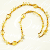 Petite Citrine Beaded Necklace w gold accents & GF clasp