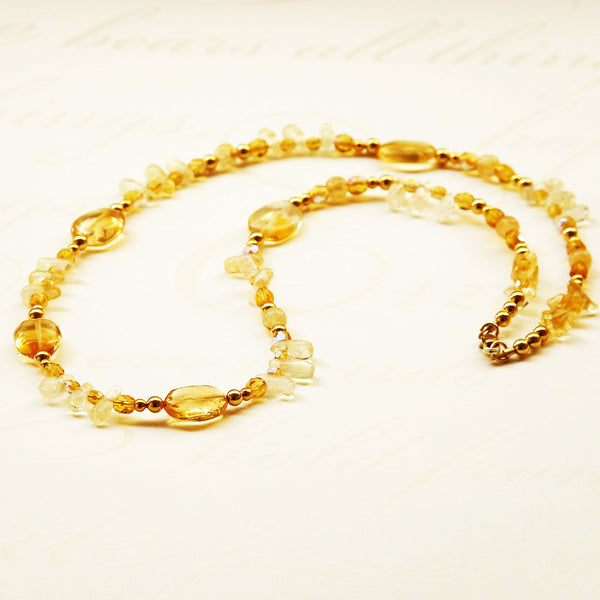 Petite Citrine Beaded Necklace with gold filled