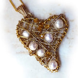Wire Wrapped Gold Heart Pendant With Freshwater Pearls