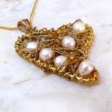 Gold Wire Wrapped Heart Pendant With Freshwater Pearls
