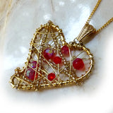 Red Crystal & Gold Heart Pendant. Beautiful, wire wrapped.
