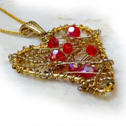 Wire Wrapped Art Heart Pendant - Red Crystal & Gold