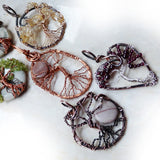Handmade wire wrapped tree pendants necklaces jewelry