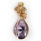 Natural Teardrop Amethyst Handmade Wire Wrapped Pendant, Gold-filled