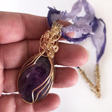 Purple, Amethyst Handmade Wire Wrapped Pendant Necklace, Natural Gemstone, Gold-filled, Bronze, Lace