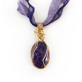Amethyst Handmade Wire Wrapped Pendant, Natural Gemstone necklace, Gold-filled, Bronze, Titanium
