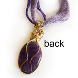 Back of Amethyst Handmade Wire Wrapped Pendant Necklace, Natural Gemstone, Gold-filled, Bronze, Purple