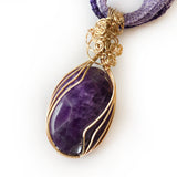 Amethyst Handmade Wire Wrapped Pendant Necklace, Natural Purple Gemstone, Gold-filled, Bronze, Titanium Lace