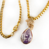 Chain Natural Teardrop Amethyst Handmade Wire Wrapped Pendant, Gold-filled