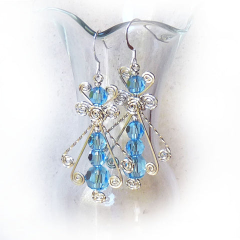 Blue Ice Swarovski crystal & Sterling silver dangle Earrings