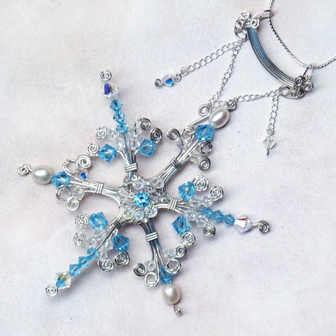 Sterling silver wire wrapped handmade snowflake pendant