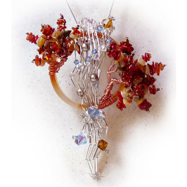 wire sculpture tree wire wrap pendant, agate, amber, coral