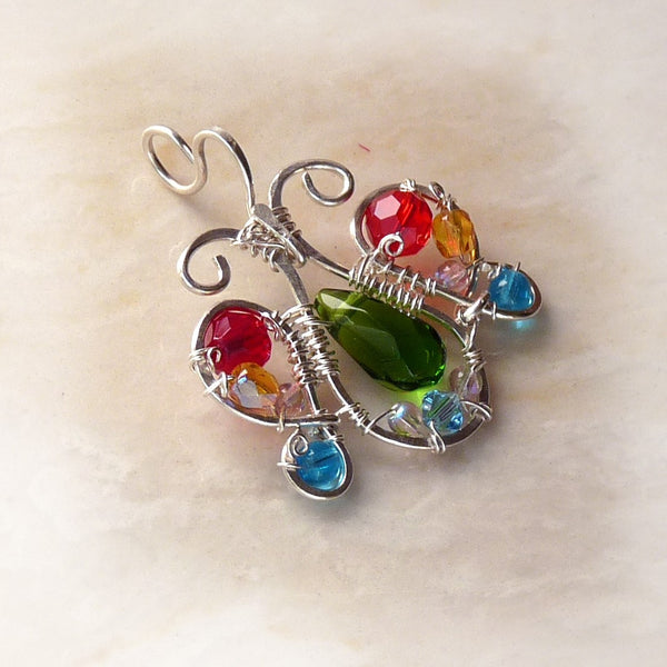wire wrapped sterling silver handmade butterfly