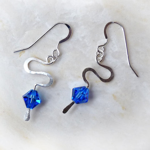 Hammered Sterling silver & blue crystal handmade Earrings