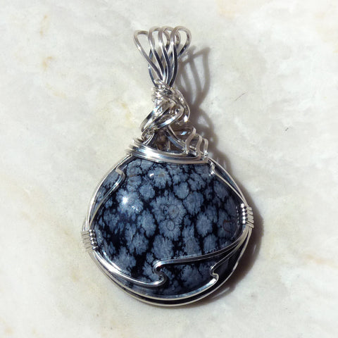 Snowflake Obsidian & sterling silver Wire Wrapped Pendant