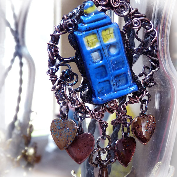 Doctor Who steampunk handmade wire wrap Tardis Pendant