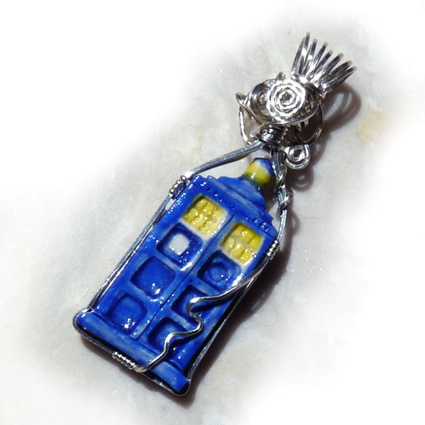Doctor who Tardis wire wrapped sterling silver pendant