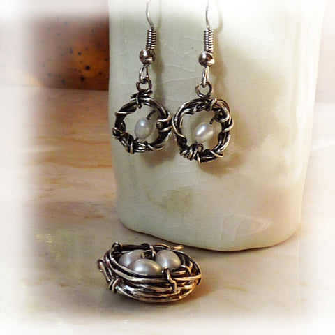 Handmade open wire wrapped OPEN nests & pearl earrings