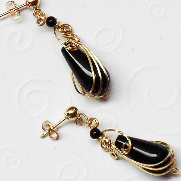 Black onyx gold filled Teardrop Wire Wrap post Earrings