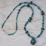 Blue-green silver and wire wrap turquoise beads necklace