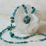 Blue-green silver and genuine turquoise beads necklace