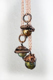 three copper pearl turquoise acorn tree pendants
