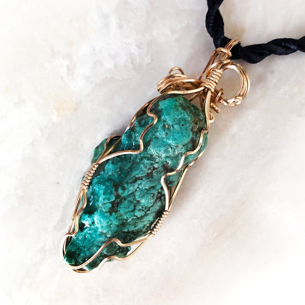 Large Green Turquoise Nugget & Gold Filled Wire Wrapped Pendant