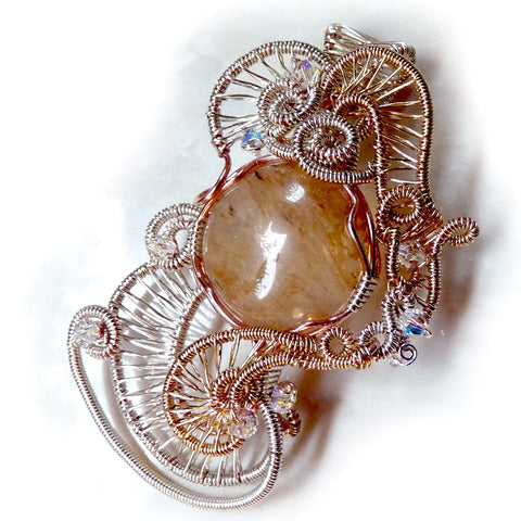 sterling silver and gold-filled wire weaving with wire wrap