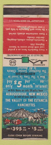 Matchbook Cover - Albuquerque NM Route 66 Real Estate Ranchettes WEAR