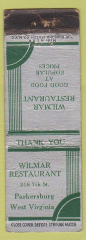 Matchbook Cover - Wilmar Restaurant Parkersburg WV CREASES