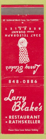 Matchbook Cover - Larry Blake's Berkeley CA Restaurant