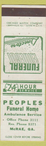 Matchbook Cover - Peoples fUneral Home McRae GA