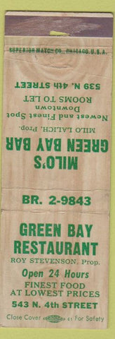 Matchbook Cover - Milo's Green Bay Bar Restaurant WI?
