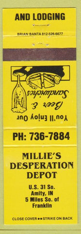 Matchbook Cover - Millie's Desperation Depot Amity IN