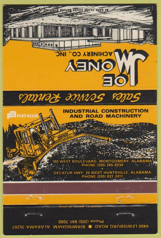 Matchbook Cover - Joe Money Machinery Tractors Birmingham AL 40 Strike