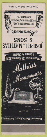 Matchbook Cover - Joseph Mathias Monuments Headstones Hanover PA Westminster MD