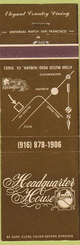 Matchbook Cover - Headquarter House Auburn CA