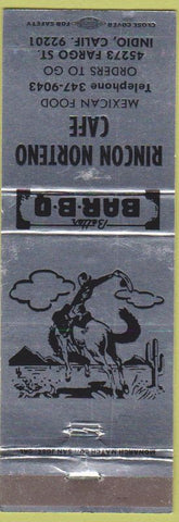 Matchbook Cover - Rincon Norteno Cafe Mexican Food Indio CA