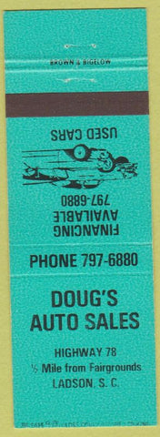 Matchbook Cover - Doug's Auto Sales Ladson SC teal