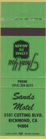 Matchbook Cover - Sands Motel Richmond CA green