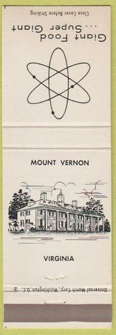 Matchbook Cover - Giant Food Grocery Store Mount Vernon VA