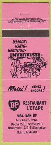 Matchbook Cover - Restaurant L'Etape Gaz Bar Beaumont Cte Bellechasse