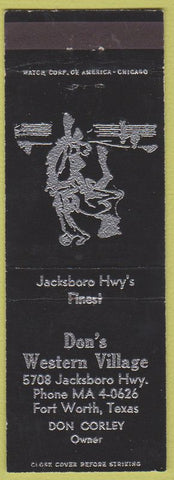 Matchbook Cover - Don's Western Tavern Fort Worth TX