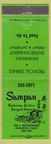Matchbook Cover - Sampan Cantonese Restaurant Chinese Anaheim CA