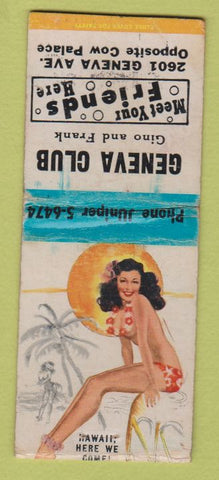 Matchbook Cover - Geneva Club Daly City CA pinup BOBTAIL