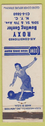 Matchbook Cover - Roxy Bowling Center New York City girlie