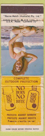 Matchbook Cover - Suntan lotion Austrailia No Burn No Bite pinup Australia POOR