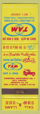 Matchbook Cover  Rental Cars Puerto Vallarta Jeeps Mexico Datsun Volkswagen WEAR