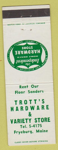 Matchbook Cover - Trott's Hardware Fryeburg ME