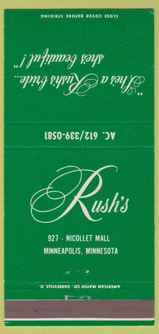 Matchbook Cover  Rush's Bridal Fashions Minneapolis MN wedding dresses 30 Strike